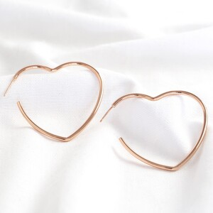 Large Heart Hoop Earrings in Rose Gold
