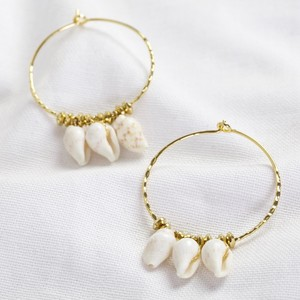 Triple Shell Charm Hoop Earrings in Gold