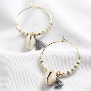White Bead and Shell Hoop Earrings