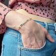 Model Wears Lisa Angel Ladies' Silver Birthstone Bead Bracelet