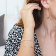 Delicate Geometric Hoop Earrings in Silver on Model