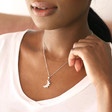 Personalised Crystal Edge Moon Pendant Necklace in Silver on Model