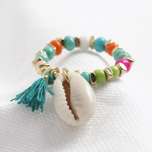 Rainbow Beaded Stretch Ring with Shell Charm