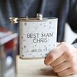 Men's Personalised Stainless Steel 'Best Man' Hip Flask