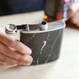 Lisa Angel Personalised Stainless Steel Black Marble Hip Flask