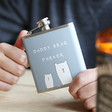 Men's Personalised Stainless Steel 'Daddy Bear' Hip Flask