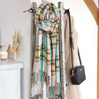 Lisa Angel Oversized Colourful Tartan Scarf