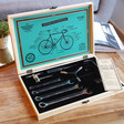 Inside of Men's Bicycle Tool Kit in Wooden Box