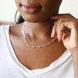 Bobble Chain Necklace in Silver on Model