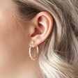Bobble Edge Hoop Earrings in Silver on Model
