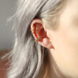 Dotted Double Row Ear Cuff in Gold on Model