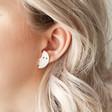 Half Moon Face Stud Earrings in Silver on Model
