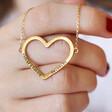 Lisa Angel Ladies' Personalised Large Heart Outline Bracelet in Gold on Model