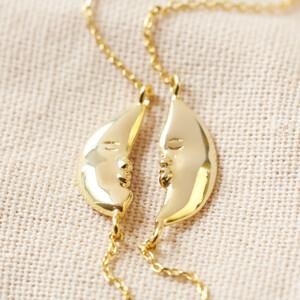 Set of Two Gold Kissing Moon Friendship Bracelets