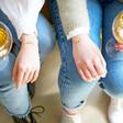 Model Wearing Lisa Angel Delicate Set of Two Gold Kissing Moon Friendship Bracelets