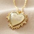 Lisa Angel Engraved Gold Personalised Sunbeam Heart Locket Necklace