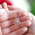 Lisa Angel Delicate Cut Out 'Mama' Heart Pendant Necklace in Silver