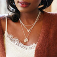 Ladies' Heart Padlock Pendant Necklace in Silver on Model