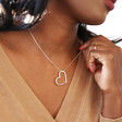 Large Outline Heart Necklace in Silver on Model