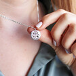 Model Wearing Lisa Angel Ladies' Lucky Sixpence Pendant Necklace in Silver