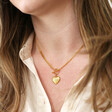 Model Wearing Lisa Angel Personalised Toggle and Heart Charm Necklace in Gold on Model
