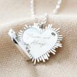 Lisa Angel Silver Personalised Sunbeam Heart Locket Necklace