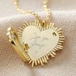 Lisa Angel Gold Personalised Sunbeam Heart Locket Necklace