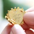 Lisa Angel Ladies' Gold Personalised Sunbeam Heart Locket Necklace