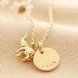 Lisa Angel Gold Personalised Tiny Elephant Pendant Necklace