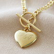 Lisa Angel Engraved Personalised Toggle and Heart Charm Necklace in Gold