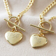 Lisa Angel Ladies' Engraved Personalised Toggle and Heart Charm Necklace in Gold