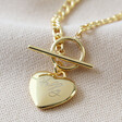 Lisa Angel Delicate Personalised Toggle and Heart Charm Necklace in Gold