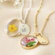 Lisa Angel Ladies' Personalised 50th Birthday Pressed Birth Flower Pendant Necklace