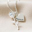 Lisa Angel Women's Personalised Stem Rose Pendant Necklace