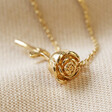 Lisa Angel Stem Rose Pendant Necklace in Gold
