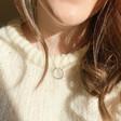 Model Wearing Lisa Angel Ladies' Organic Style Hoop Necklace in Silver