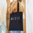 Lisa Angel Ladies' Personalised Name Cotton Tote Bag in Black