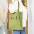 Lisa Angel Ladies' Personalised Name Cotton Tote Bag in Green