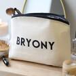 Lisa Angel Natural Cotton Personalised Name Make Up Bag