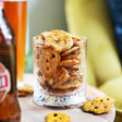 Olly's Original Salted Pretzel Thins in a glass from Lisa Angel
