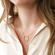 Model Wearing Lisa Angel Gold Personalised Sterling Silver Organic Style Hoop Necklace