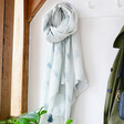 Lisa Angel Flower and Feather Scarf with Tassels in Grey