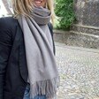 Lisa Angel Grey Personalised Embroidered Name Lightweight Winter Scarf