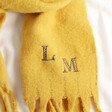 Lisa Angel Personalised Embroidered Navy Initials Recycled Oversized Scarf