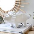 Lisa Angel Disaster Designs Nordikka White Origami Triceratops Dinosaur Lamp