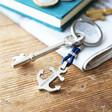 Lisa Angel Men's Personalised EngravedStainless Steel Anchor and Rope Keyring