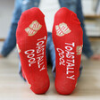 Red Toast Design Breakfast Socks Sole Quote