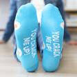 Blue Eggs Design Breakfast Socks Sole Quote