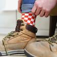 Lisa Angel Red Checkerboard Socks