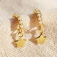 Lisa Angel Ladies' Gold Sterling Silver Crystal Hoop and Star Charm Earrings